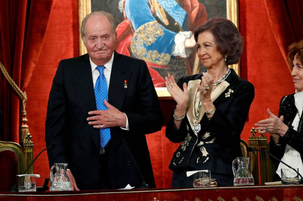 Former King of Spain, Juan Carlos I of Spain and Sofia of Spain attend a ceremony to celebrate Juan Carlos I of Spain 80th birthday