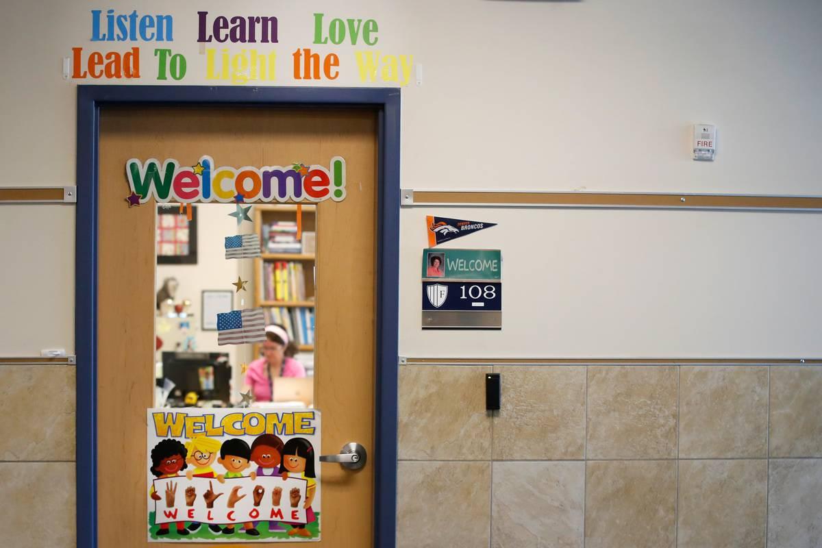 A classroom door is pictured in a Utah school.