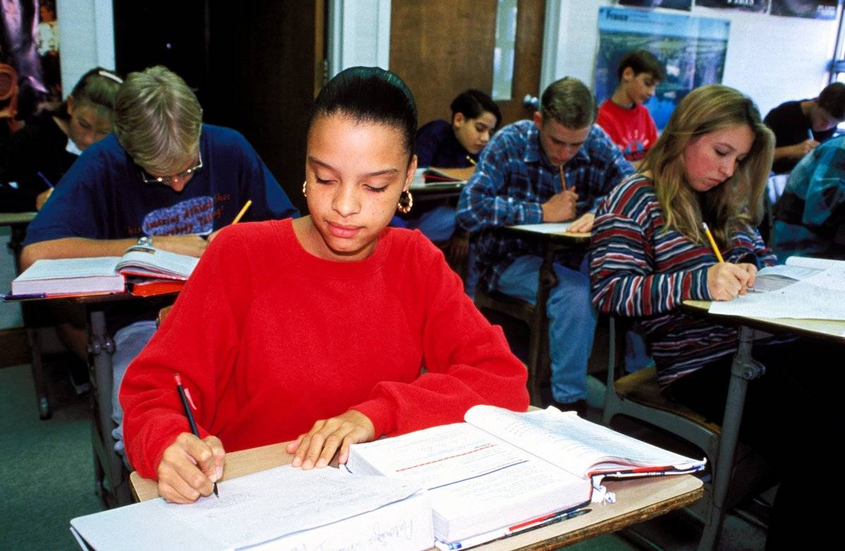 Students take an exam in a New Jersey classroom.