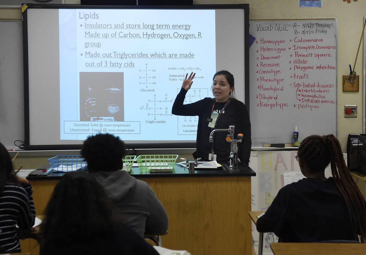 An Oklahoma science teacher teachers her high school students about lipids.
