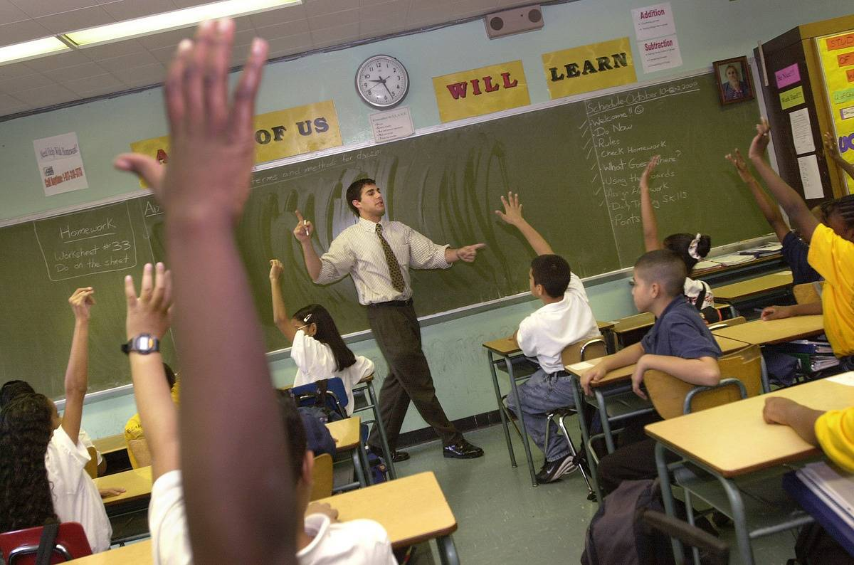 A New York teacher instructs a class in The Bronx.