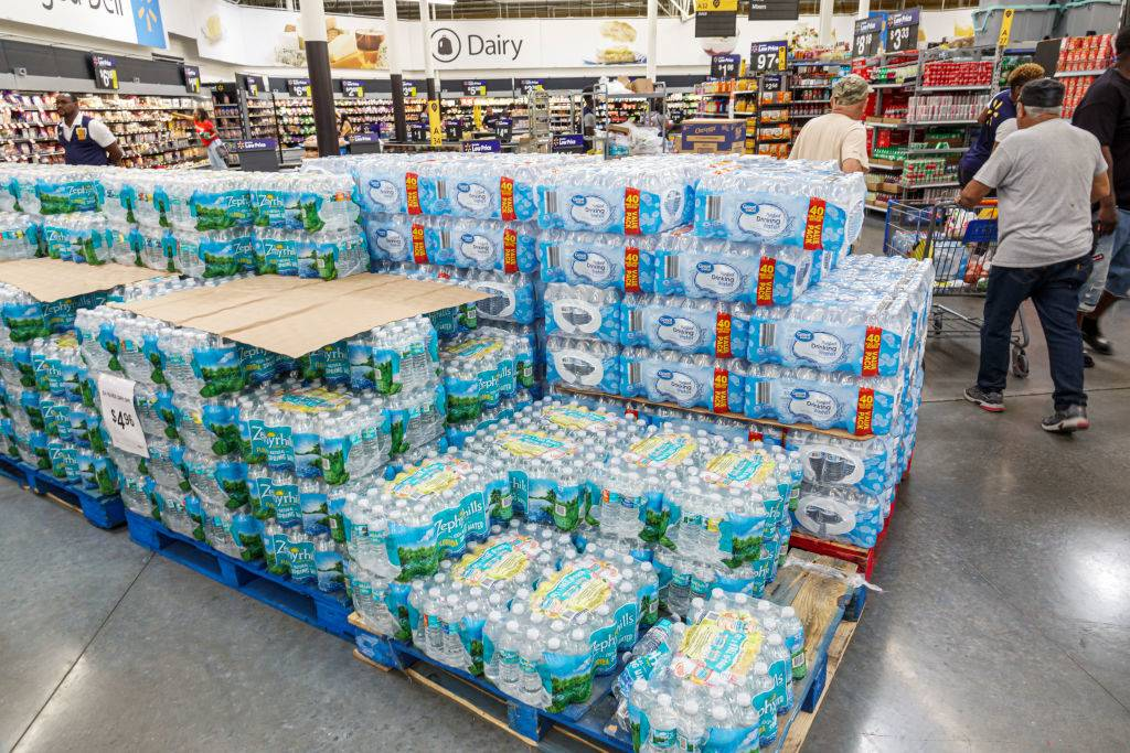 Stack of bottled water