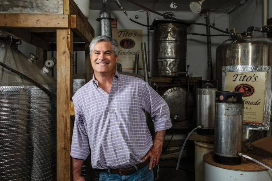 Bert Beveridge stands in one of Tito's vodka warehouses.