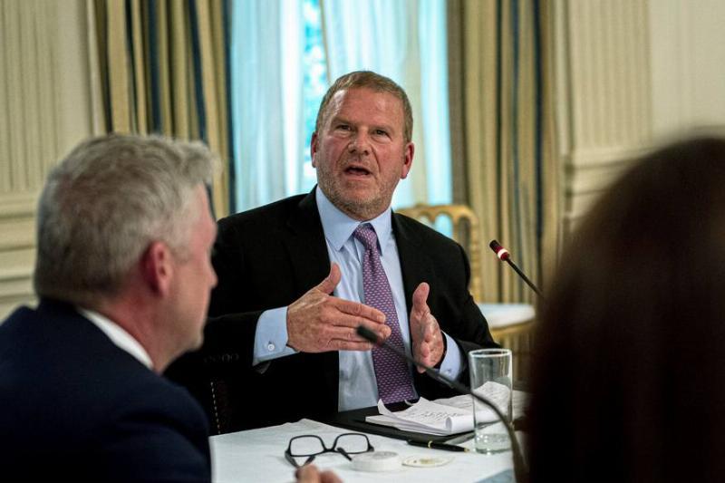 Tilman Fertitta, owner of the Houston Rockets, speaks during a meeting in the White House.