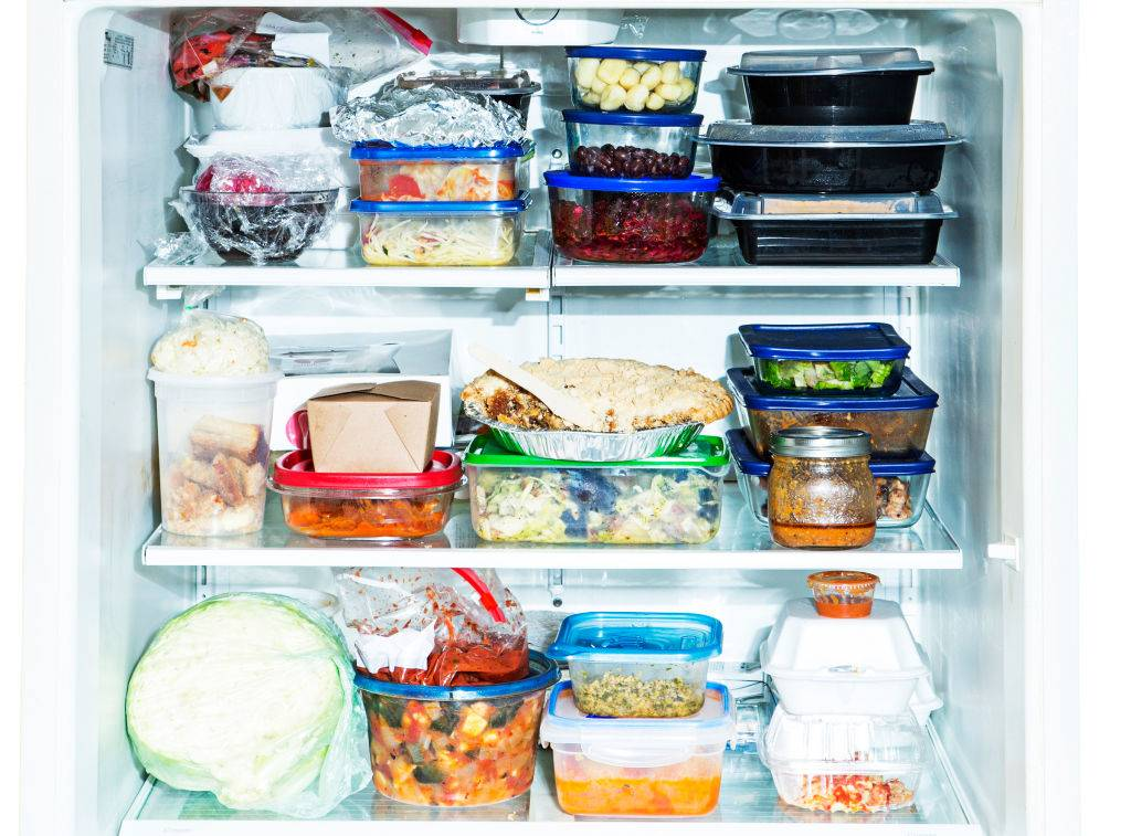 leftovers in a freezer