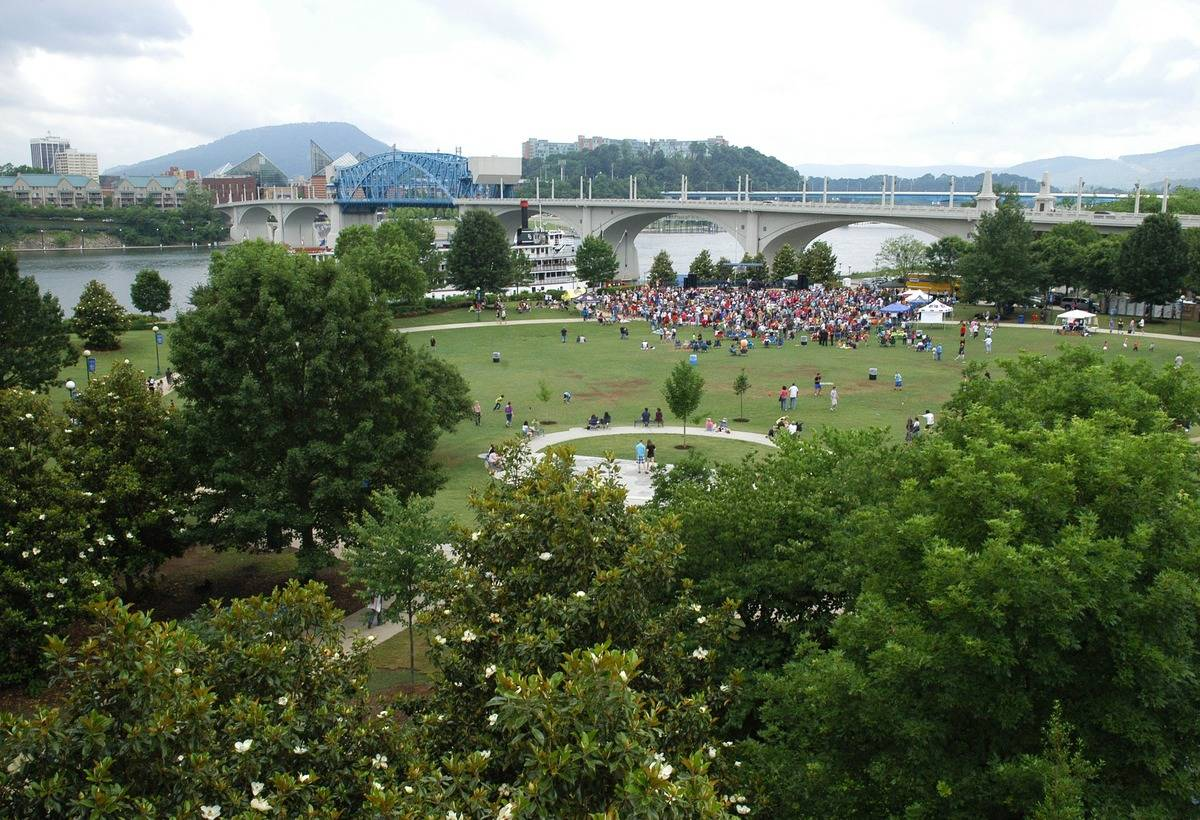 Crowds gather at Coolidge Park in Chattanooga, Tennessee.