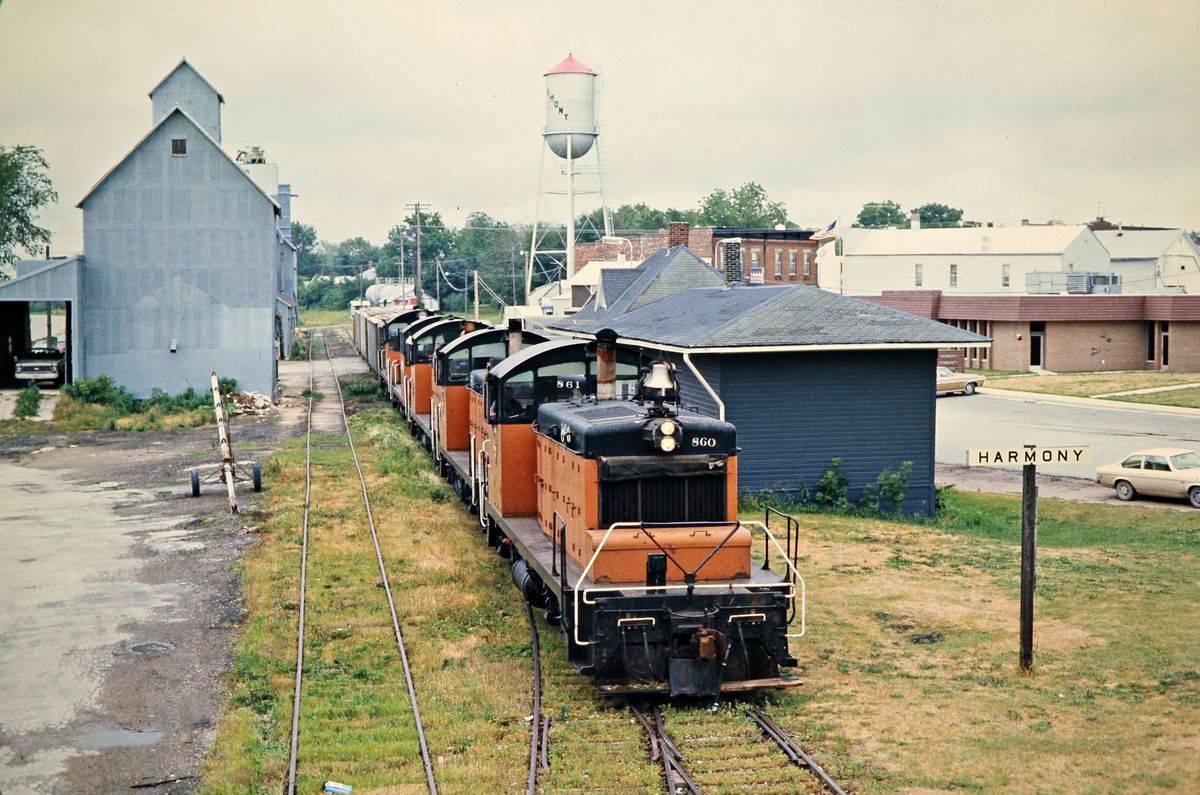 A train travels through Harmony, Minnesota.