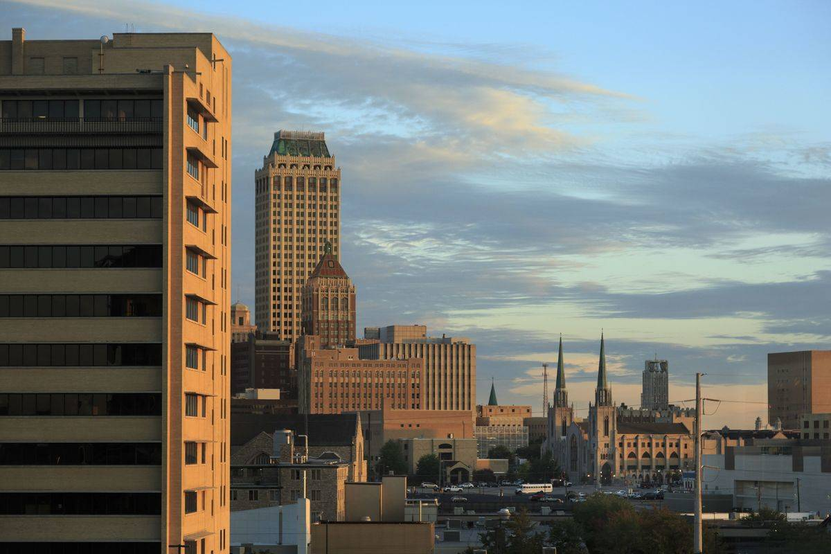Buildings in Tulsa, Oklahoma are seen at sunrise.
