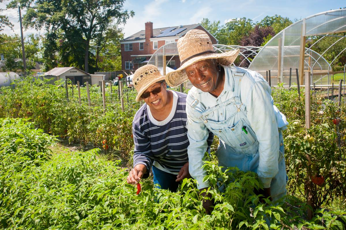 A couple smiles as they work on their vegetable garden in Baltimore city, Maryland.