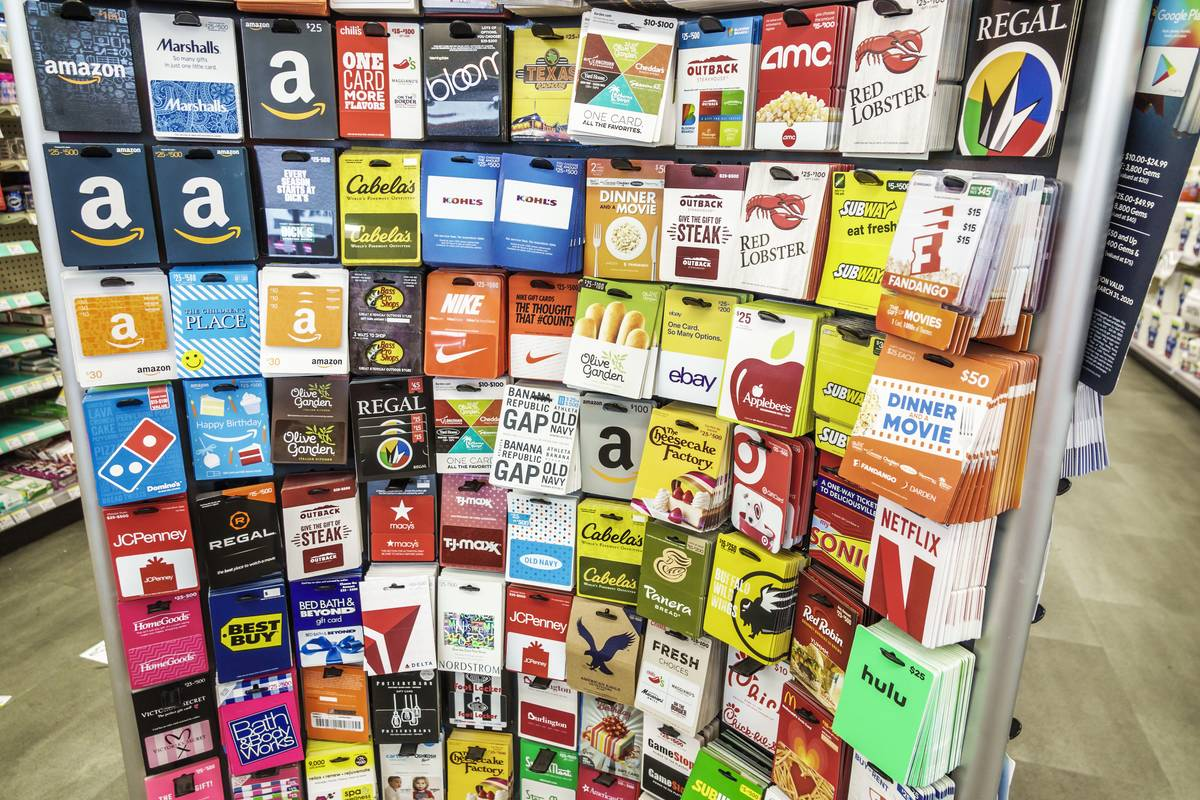 Walgreens pharmacy, prepaid gift card display
