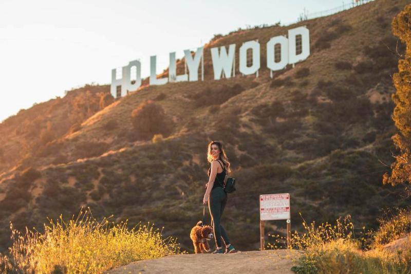 A woman walks her dog near the Hollywood sign.
