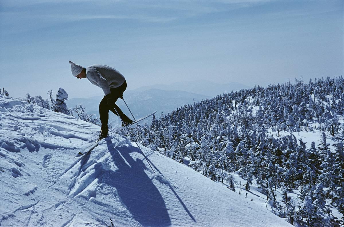 A man skiis at Sugarbush, a mountain resort in Vermont.