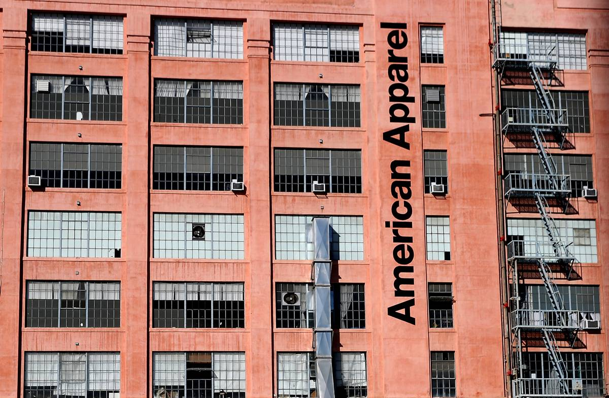 An exterior of an American Apparel factory is seen.