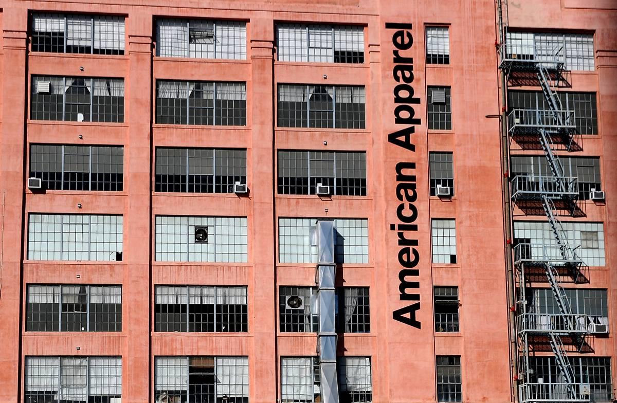 An exterior of an American Apparel factory is seen.