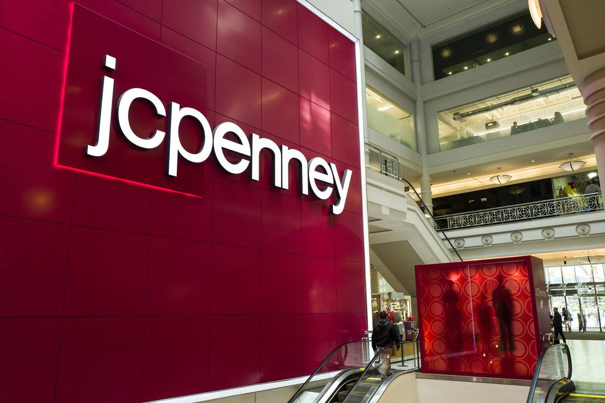 JCPenny signage is seen at a mall.