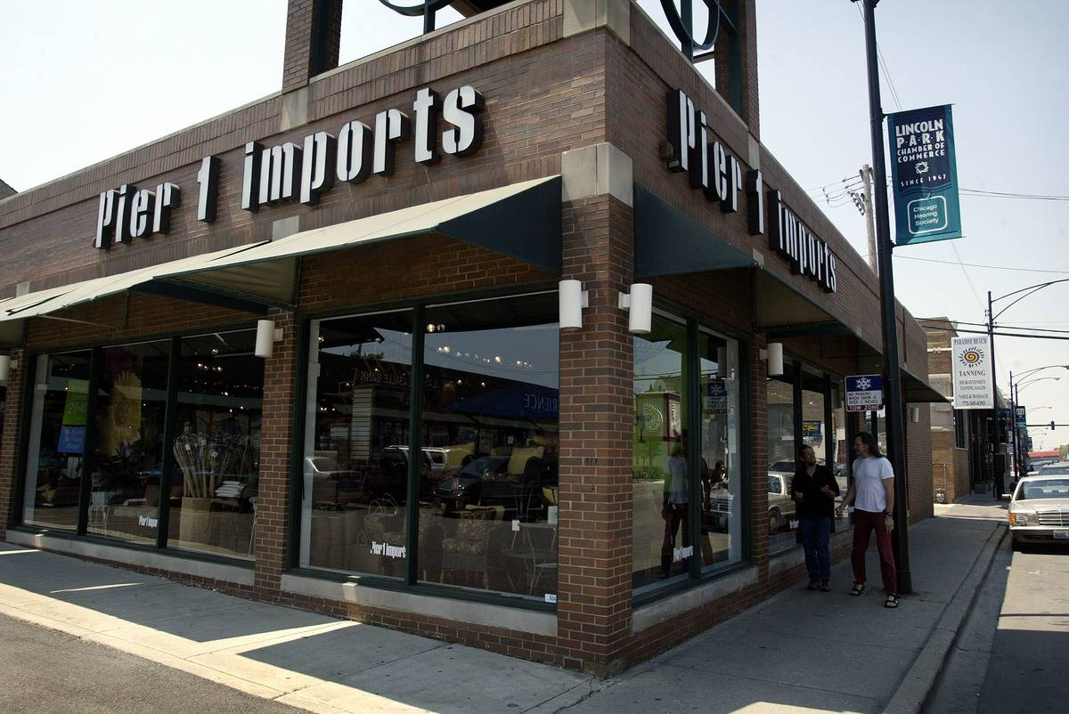 A Pier 1 Imports shore is on a corner.