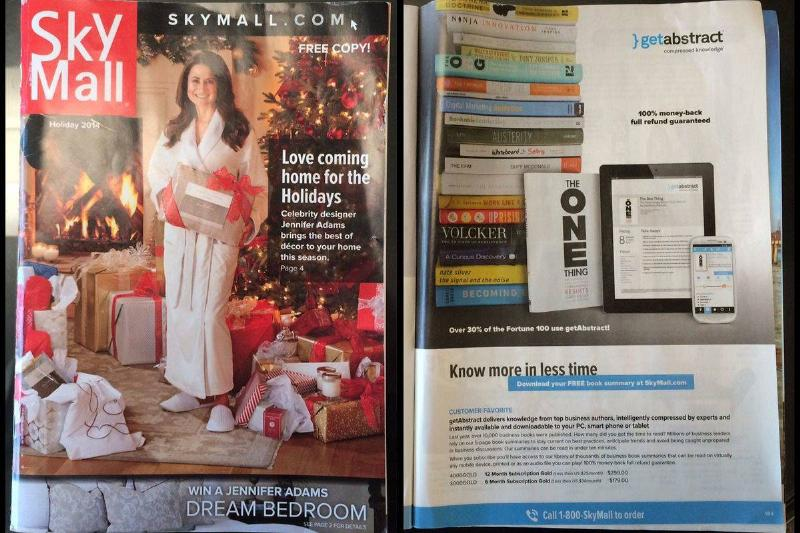 The cover and back of a SkyMall magazine is displayed.