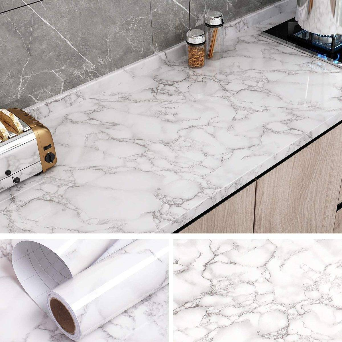 Removable marble contact paper has been attached to a countertop.