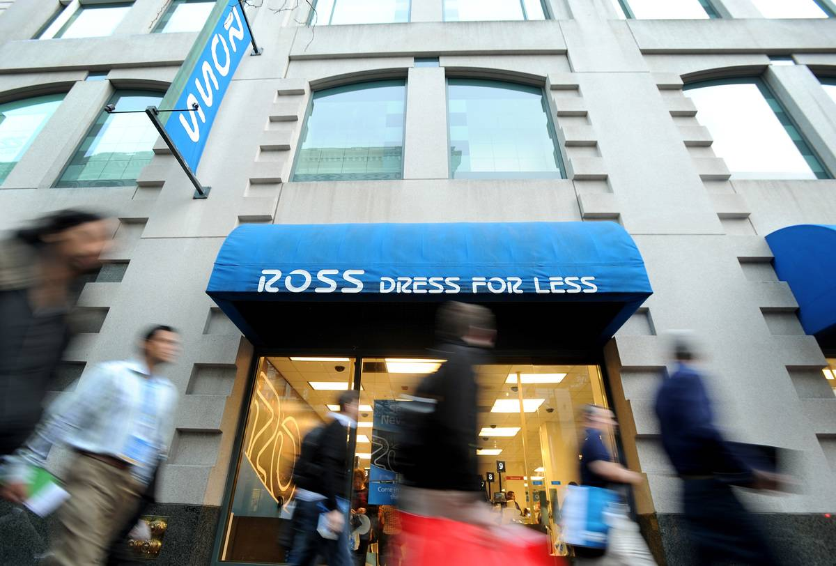 Customers walk by a Ross Dress for Less store.