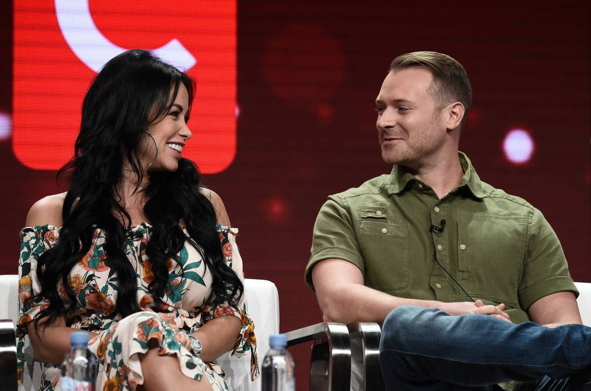 Paola Mayfield (L) and Russ Mayfield of '90 Day Fiance: Happily Ever After?' speak onstage during a TLC panel.