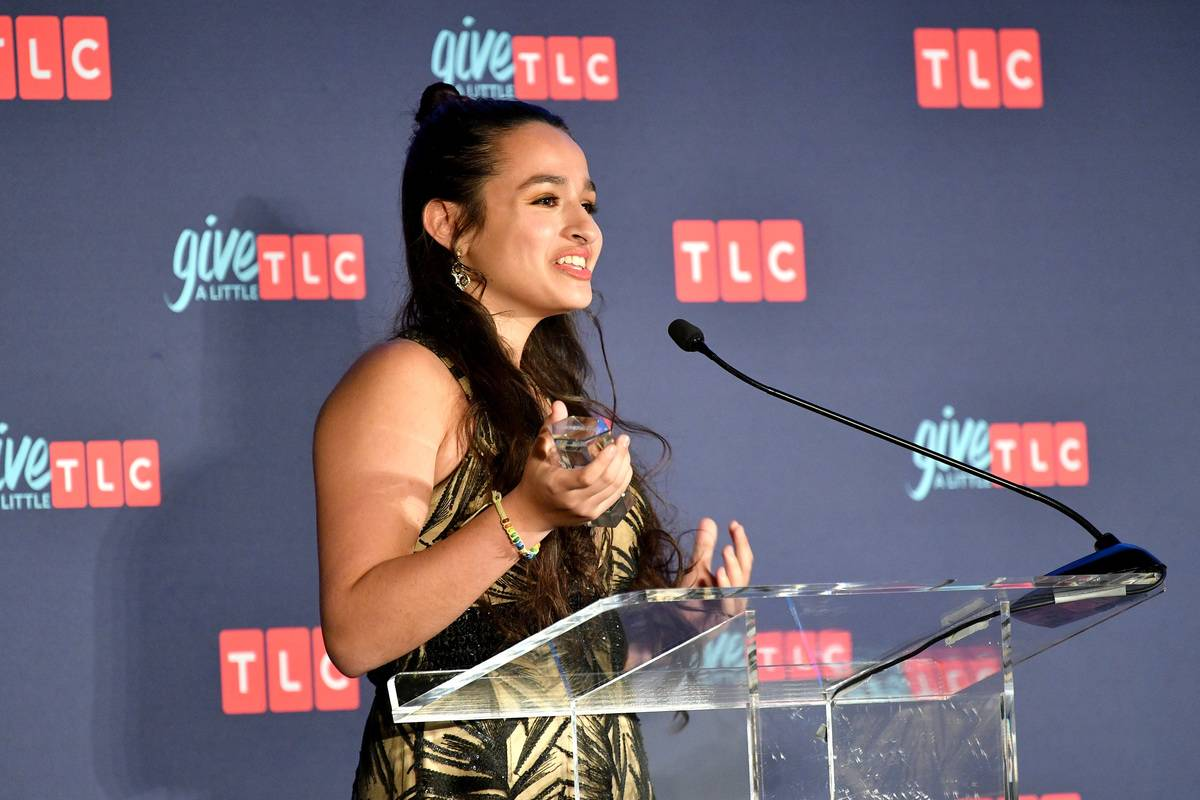 Jazz Jennings of TLC's I Am Jazz speaks onstage during 2018 TLC's Give A Little Awards.