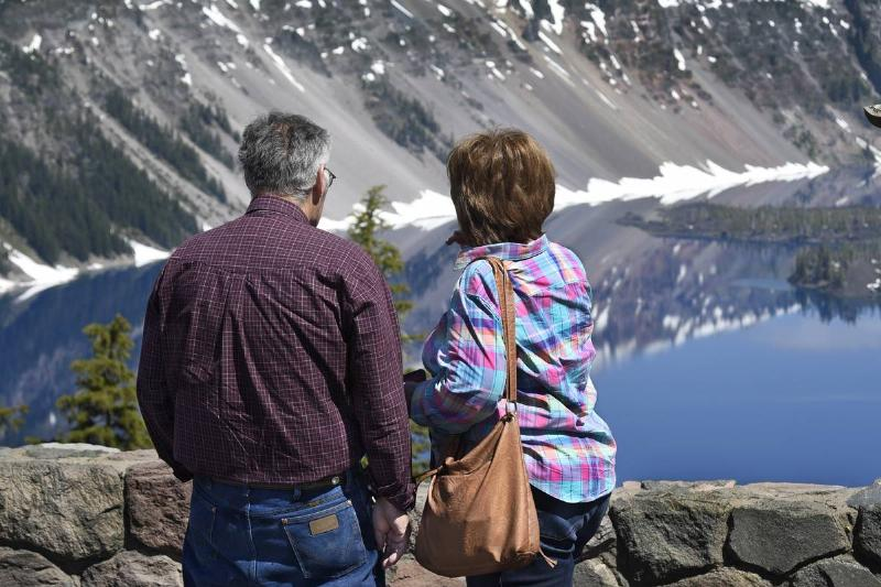 A retired couple visits Crater Lake.