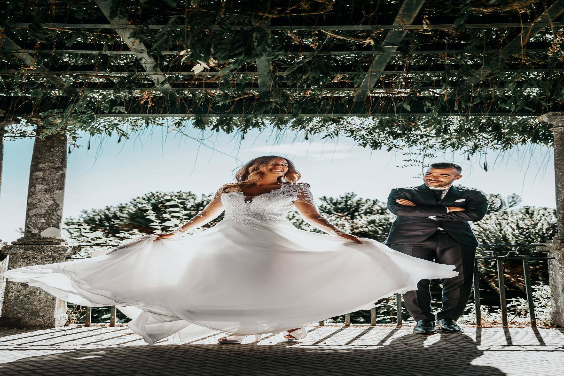 a couple at their wedding