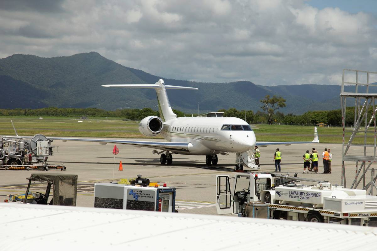 Oprah's private jet lands at the Cairns airport in Australia.