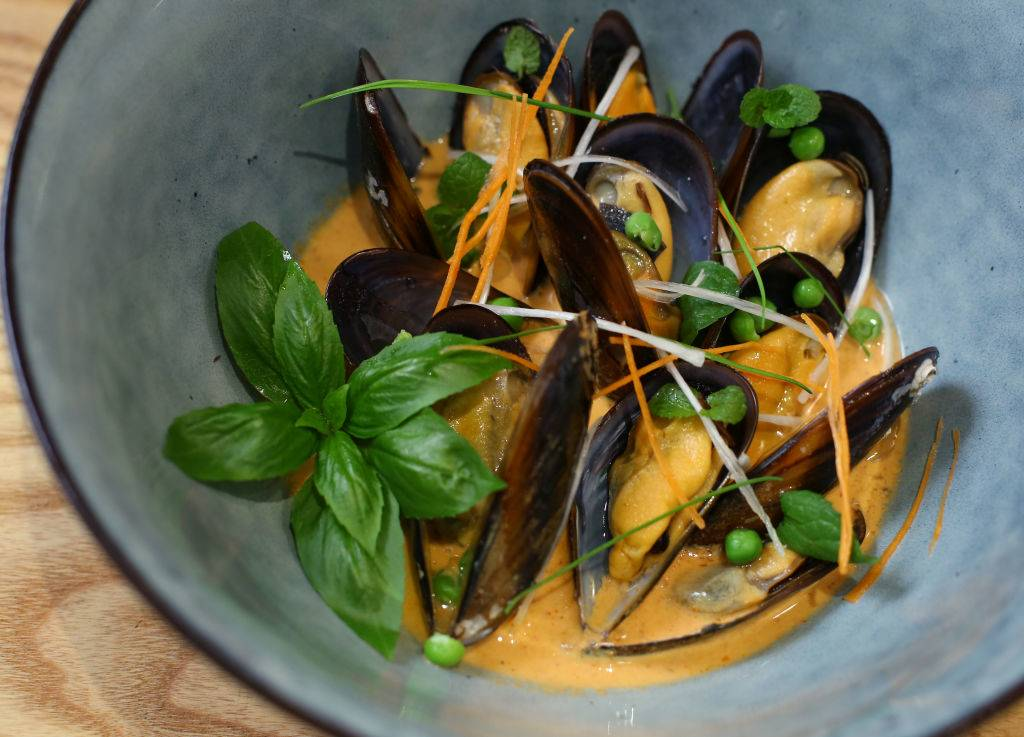 mussels in a red curry umami sauce