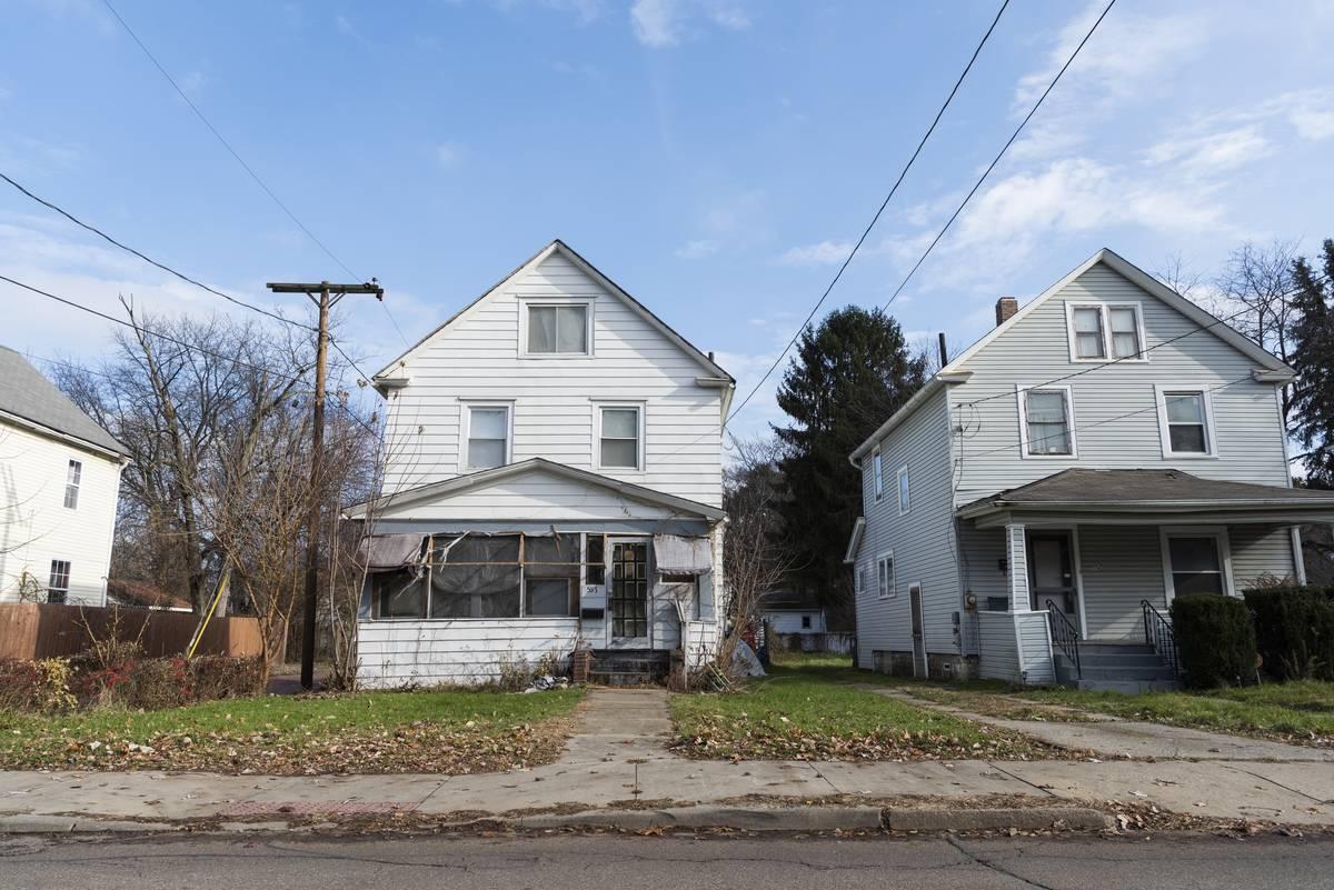 Houses are on Dayton St. in Akron, Ohio.