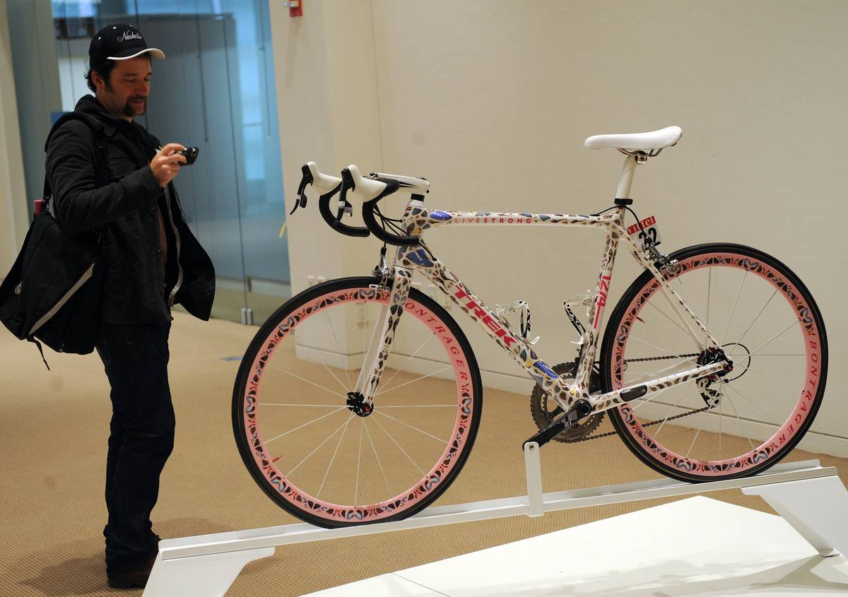A Trek Madone bicycle, decorated by Engl