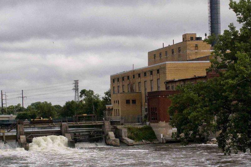 Dam and power plant on Rock river, Beloit, Wisconsin