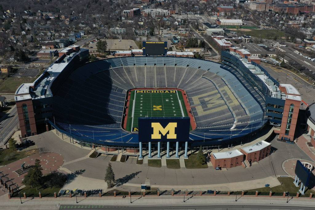 Aerial general view from a drone of of Michigan Stadium