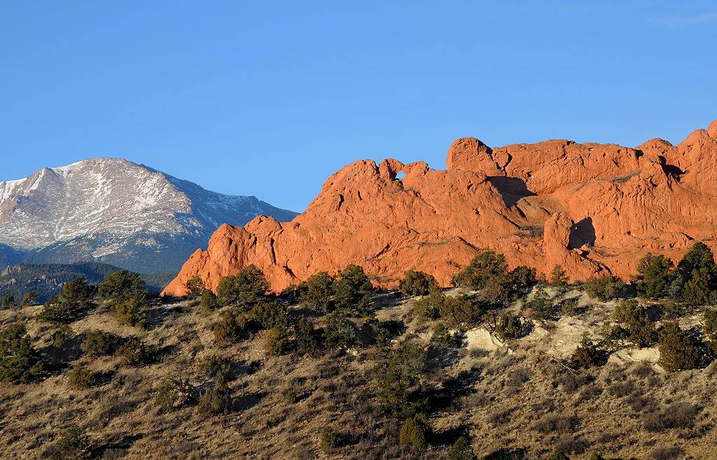 Sandstone formations rise near the entrance to the Garden of the Gods park in Colorado Springs, Colorado
