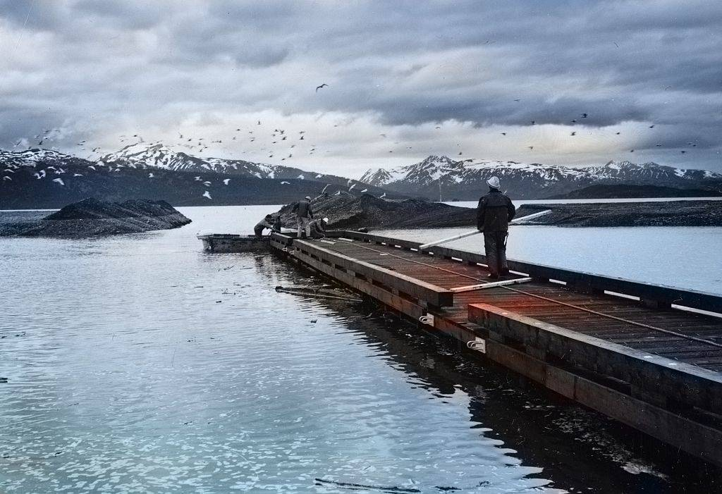 construction workers work on a dock in Homer, Alaska