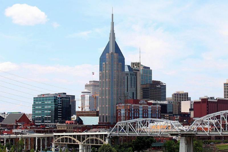 Nashville skyline and Shelby Street Bridge in Nashville, Tennessee