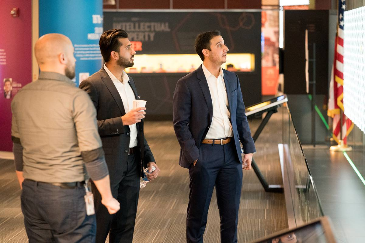 Payam Pourtaheri And Ameer Shakeel receive a tour of the USPTO.