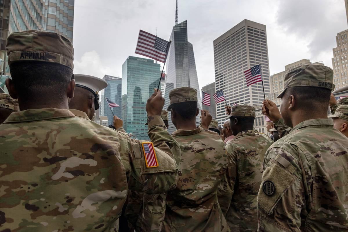 Members Of The Military Are Sworn In As U.S. Citizens In New York City